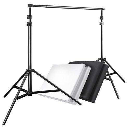 Walimex Hintergrundsystem-Set 120-307 cm (2x Stoffhintergründe 2,85 x 6 m, 1 Teleskopstange, 2 Stative und inkl. Transporttasche) schwarz und weiß