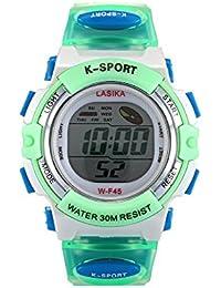 W-F45 Reloj de pulsera - LASIKA Reloj de pulsera digital para Natacion Deportes de ninos W-F45 impermeable ajustable (Verde)