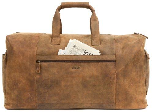 LEABAGS Sydney Reisetasche aus echtem Büffel-Leder im Vintage Look - Braun