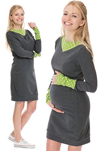 GoFuture Damen Umstandskleid Stillkleid 3in1 TILA GF2381 plus weiße Punkte auf Grün