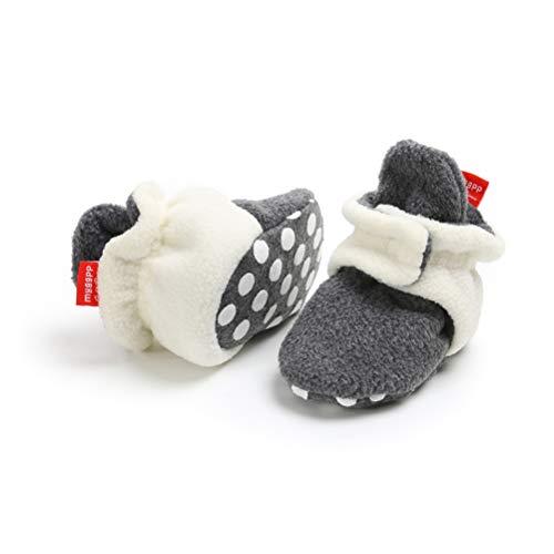 EDOTON Unisex Neugeborenes Schneestiefel Weiche Sohlen Streifen Bootie Kleinkind Stiefel Niedlich Stiefel Socke Einstellbar (12-18 Monate, Weiß ()