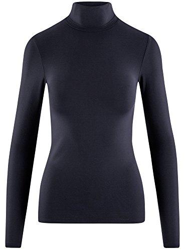 oodji Ultra Damen Langarmshirt Basic mit Rollkragen Blau (7900N)