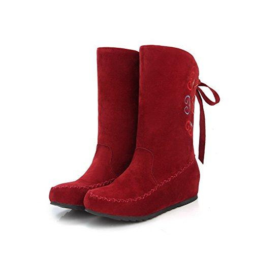 AgooLar Damen Bestickt Mattglasbirne Niedriger Absatz Ziehen Auf Rund Zehe Stiefel Rot