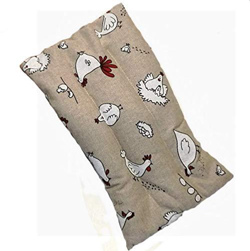 Cuscino con semi di lino Deluxe scaldacollo per dolori addominali, mal di pancia, febbre alta (600gr. - 32x19x2cm) con Galline. Terapia caldo freddo. Prodotto in Emilia Romagna