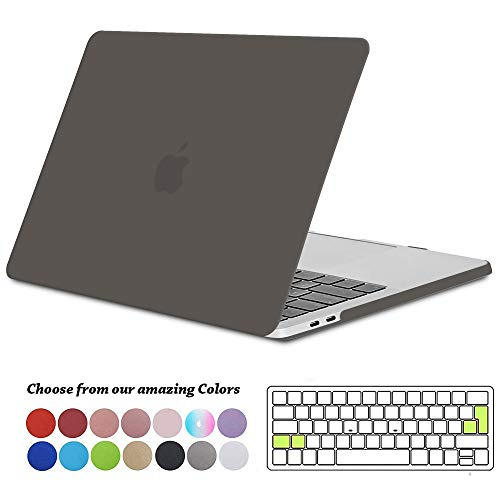 TECOOL MacBook Pro 15 Hülle 2018/2017/2016 Case, Slim Plastik Hartschale Schutzhülle Cover mit Transparent EU Tastaturschutz für Apple MacBook Pro 15 Zoll mit Touch Bar Modell: A1990/ A1707 -Grau - 15 Macbook Retina Pro Klar Case Das