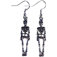 Skeleton Halloween Earrings - Tibetan Silver Charms on Nickelfree Hooks
