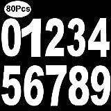 Outee 80 Pcs Wheelie Bin Anzahl Aufkleber Mülltonnen Zahlen 7 x 4 Zoll Selbst ashesive Zahlen stickeres Große Zahl von 0 bis 9 Weiß