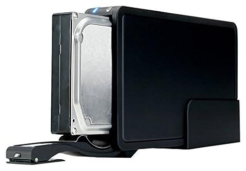 FANTEC ER-35U3-6G Externes Festplattengehäuse (für den Einbau einer 8,89 cm (3,5 Zoll) SATA Festplatte, unterstützt SATA III 6G Festplatten und UASP, USB 3.0 SUPERSPEED, trägerlos, schraubenlos Festplatten wechseln, 30 mm Lüfter für exzellente Wärmeableitung, Aluminium Gehäuse)