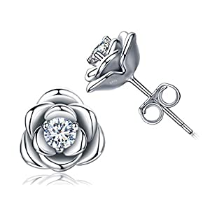 Luckysuen Weiß Vergoldete Sterling Silber Rose Blumen Ohrstecker Ohrringe, Hypoallergene & Nickelfreie Ohrringe für Frauen, Damen Ohrringe