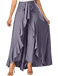 b4999eb0a02e Donna Gonne Lunga Pantaloni Larghi Vita Alta A-Line Colore Solido Balze  Irregolare Gonne