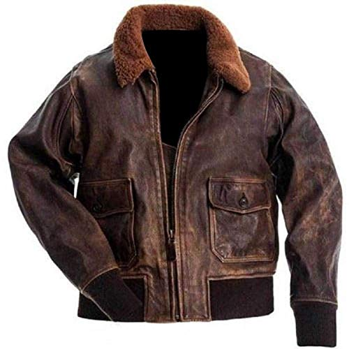 G-1 Distressed Brown Aviator Flight Bomber Fur Real Leather Jacket XXXX-Large G1 Flight Jacket