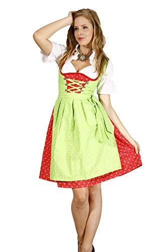 Oscartrachten, 3tlg. Dirndl-Set - Trachtenkleid, Bluse, Schürze - Dirndl midi rot-grün, Größe: 38