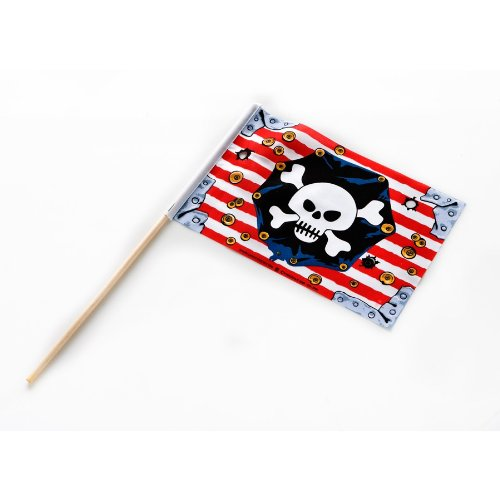 Liontouch 22806 Pirate Flag, Pirate Red Stripe / Piraten-Flagge m. Holzstab, Red Stripe
