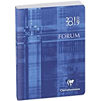 Clairefontaine Forum Métric 184072E - Agenda journalier broché - Août 2018 à Juillet 2019 - couverture en carte imprimée avec un pelliculage brillant toilé - 12 x 17 cm coloris bleu