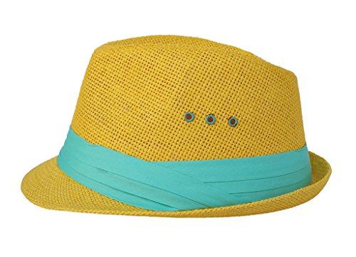 Smile YKK Modern Mit Band Deko Jazz Hut Stroh Hut Sonnen Hut Jazz Hut Strohhut Jazz Hut Panamahut Sonnenhüte Beach Hut Fedora Trilby Hut 58cm Erwachsene (Gelb Fedora Hut Erwachsenen)