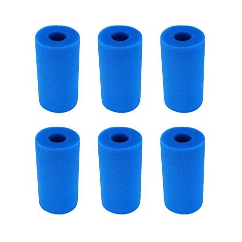 FBGood Aquarium Filter Schwamm, Waschbare Schaumstoffpatrone Pool Reinigungswerkzeug Vorfilter Schwämme Wiederverwendbare Schwimmbad Ersatz Zubehör Schaumstofffilter für Aquarium (Blau, 6 Stück) -