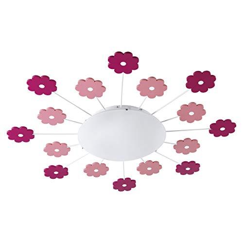 EGLO Deckenleuchte Viki 1 mit pinken und rosafarbigen Blumen Durchmesser 61,5cm Kinderzimmerleuchte Mädchen und Jungen Stahl