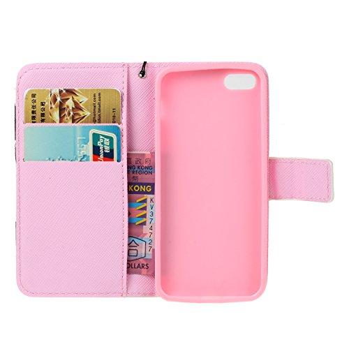 iPhone 5 Hülle,iPhone 5s case vintage ledertasche, Handy Schutzhülle für iPhone 5 / 5S / SE Hülle Leder Wallet Tasche Flip Brieftasche Etui Schale (+Staubstecker) (9) 1