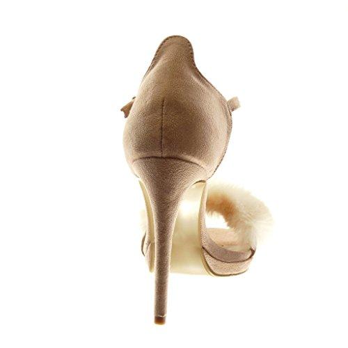 Angkorly Scarpe Moda Sandali Scarpe Decollete con Cinturino Alla Caviglia Stiletto Donna Pelliccia Tanga Tacco Stiletto Alto 11 cm Rosa chiaro