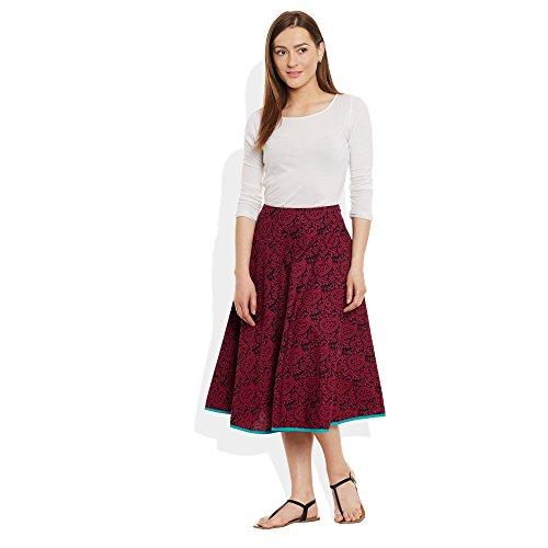 Damen Bekleidung Baumwolle gedruckt mittellanger Rock a-Linie Braun Schwarz