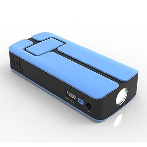 MAXOAK 11000mah car chargeur externe de démarreur voiture Jumpe Starter Booster Batterie Portable muilti-fonctionnel avec 5v/12v/20v USB pour Téléphone et Ordinateur Portable.SOS,LED lampe poche -blue