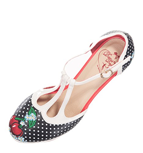 Dancing Days RUBY Vintage 40s T-Strap Pin Up Polka Dots Pumps HIGH HEELS - 4