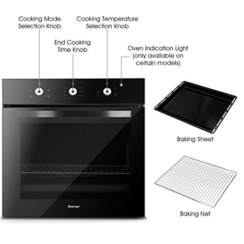 41ppQ44c8YL. SS500  - COSTWAY Built-in Stainless Steel 71L Electric Multifunction Oven with 4 Cooking Modes, Timer Function, Removable Double…