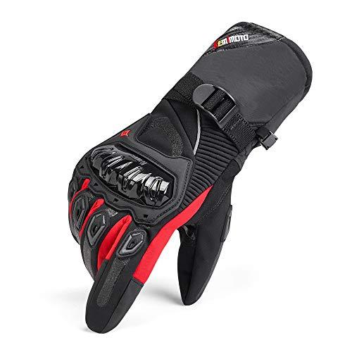 Guanti Moto Uomo Invernali, Impermeabili Guanti da Moto Touch Screen Hard Knuckle Protettivo per Motocross Motociclista Uomo Donna Rosso L