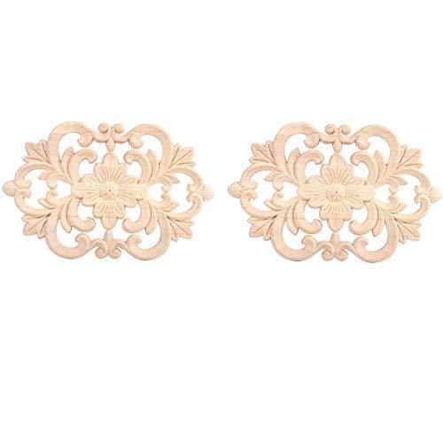 Confezione da 2 decorazione in legno intagliato applique per mobili in legno intagliato non verniciato, stile europeo, stile vintage, decorazione per porte e mobili - 22*14cm