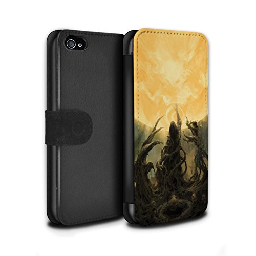 Offiziell Chris Cold PU-Leder Hülle/Case/Tasche/Cover für Apple iPhone 4/4S / Pack 5pcs Muster / Unterwelt Kollektion Sonnengott/Reben