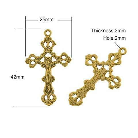 Packet of 5 x Antique Gold Tibetan 42mm Charms Pendants (Crucifix) - (ZX08325) - Charming Beads