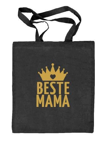 Shirtstreet24, Muttertag - Beste Mama Krone, Mutter Natur Stoffbeutel Jute Tasche (ONE SIZE) schwarz natur