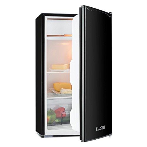 orger • Kühlschrank • Standkühlschrank • 90 Liter Volumen • 82 cm hoch • 7 Liter Eisfach • 2 Ebenen • 3 x Türablage • Gemüsefach • 5-stufiger Temperaturregler • Edelstahltür • wechselbarer Türanschlag • schwarz (Kleine übersichtliche Kühlschrank)