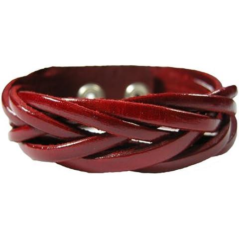BrownBeans Casual, colore rosso, in pelle, bracciale da donna intrecciato, LBCT5009)