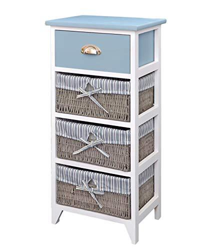 ts-ideen Landhaus Kommode Schrank Bad Regal in grau Weiss mit Einer Schublade und DREI Körbe mit einem Stoffbezug in Blau -