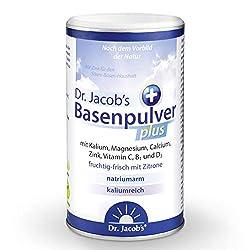 Dr Jacob's Basenpulver plus mit echter Zitrone I 300 g Basen-Pulver vegan I Nahrungsergänzung Kalium Calcium Magnesium Zink I Vitamin C D B1 I für Muskeln, Knochen und mehr Energie
