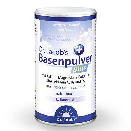 Dr Jacob's Basenpulver plus mit echter Zitrone I 300 g Basen-Pulver vegan I Nahrungsergänzung Kalium Calcium Magnesium Zink I Vitamin C D B1 I für Basenfasten, Muskeln, Knochen und mehr Energie