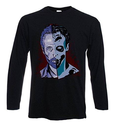 t-shirt manica lunga Double Rick, Walking dead, serie tv, horror, zombie - S M L XL XXL uomo donna bambino maglietta by tshirteria nero