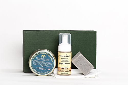 COLOURLOCK Leather Cleaner & Wax (Elephant Leather Preserver) Kit for furniture, car seats, handbags, jackets and accessories (Strong Cleaner)