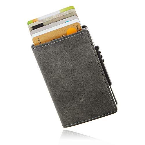   KARTENVILLA   - Kreditkartenetui Kartenetui Kreditkartenhülle Portmonee Gelbeutel Geldklammer Slim Wallet mit RFID Schutz Braun Schwarz Grau (Grau) - Holder Card Wallet Slim