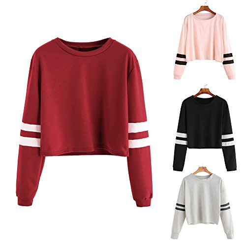 yeshi Damen Sweatshirt striped Long Sleeve Crewneck Sport Bauchfrei Pullover, rot (Striped Sleeve Long Top)
