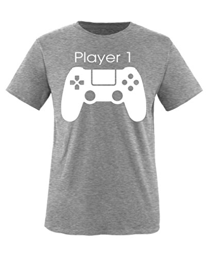 Comedy Shirts - Player 1 Controller - Jungen T-Shirt - Graumeliert / Weiss Gr. 122-128 (T-shirt Freunde Toms)