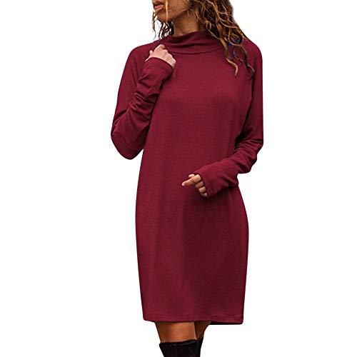 (Riou Pulloverkleid Damen Elegant Lang Mode Casual Schlankes Einfarbig Langarm Runden Sweatshirt Minikleid)