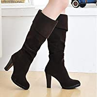 Wuyulunbi@ Women'S Shoes Spring Fall Comfort Fashion Boots Boots Knee High Boots For Casual Brown Black