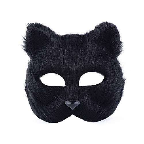 Fuchs Kostüm Maske - Housesweet Fuchs halbe Gesichtsmaske Tiergesicht Kostüm Zubehör Erwachsene Cosplay Party Maske 18 x16 cm Schwarz