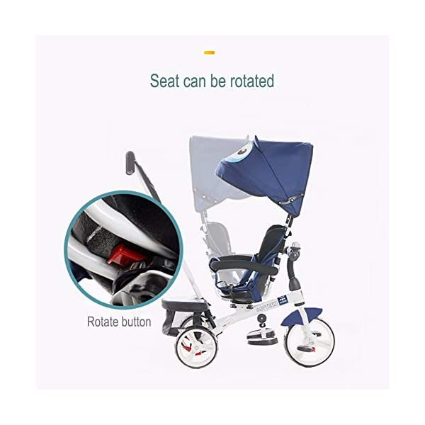 TRICYCLE 4-in-1 Baby Kid Buggy Stroller with Reversible Seat Detachable Push Handle - 18 Months to 5 Years,Blue  MULTIFUNCTIONAL - Kids trike with multiple parts allowing you to freely assemble or convert to make it transform into stroller, steering trike, normal trike, baby walker. It is the best choice as your child's outdoor companion all along its growth from 6 months to 6 years old! LARGE BACKREST - Breathable heightening backrest and 360° rotatable seat for providing your child a more comfortable place to rest when it's tired after playing outside. It's one of a kind! Front and back EVA free pneumatic tire, wear-resistant and shockproof, all-terrain wheels. All for a cozy ride! 3
