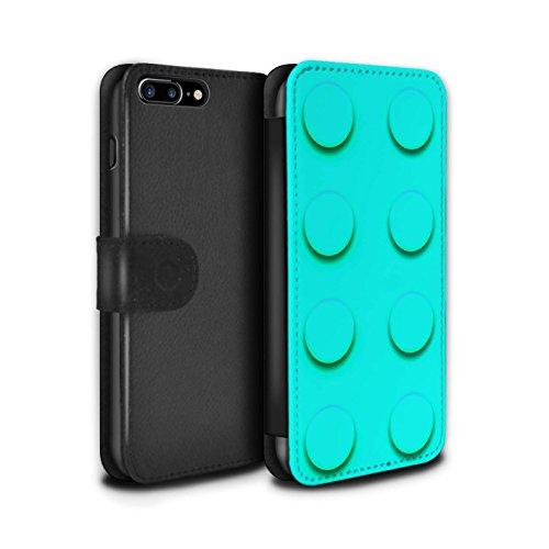STUFF4 PU-Leder Hülle/Case/Tasche/Cover für Apple iPhone 8 Plus / Pack 6pcs Muster / Spielzeug Steine/Blöcke Kollektion Türkis