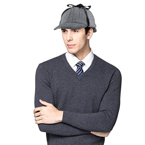 EINSKEY Sherlock Holmes Mütze Kinder Erwachsene Spiel Cosplay Detective Deerstalker Hut für Halloween, Martinstag, Weihnachten, Schwarz, S