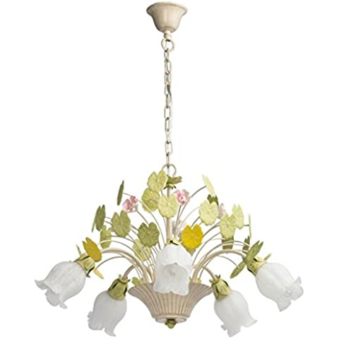 Lampadario da soffitto pendente elegante primaverile metallo dipinto in bianco
