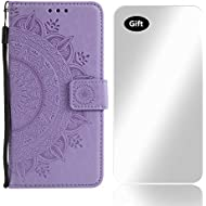 Case Galaxy Core Prime, Bear Village® PU Leather Embossed Design Case with Free Tempered Glass Screen Protector, Wallet Flip Stand Cover for Samsung Galaxy Core Prime (#3 Purple)